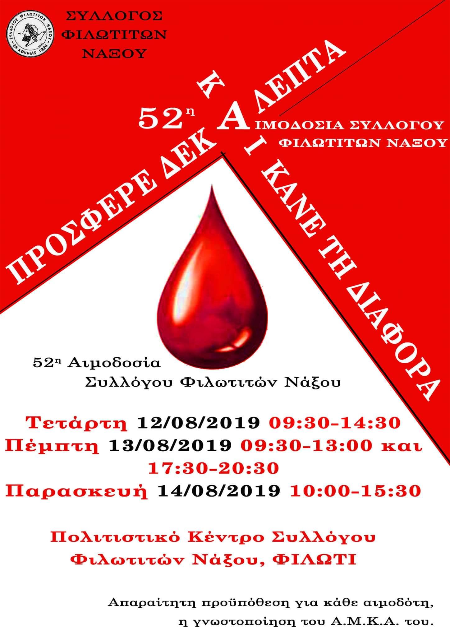 12 - 14 Αυγούστου η 52η αιμοδοσία του Συλλόγου Φιλωτιτών Νάξου ...
